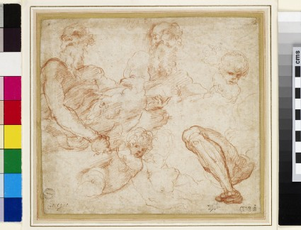 Recto: Studies of St John the Evangelist, a putto, and a leg Verso: Studies of St Peter, two heads of a woman, an arm, and a heraldic device