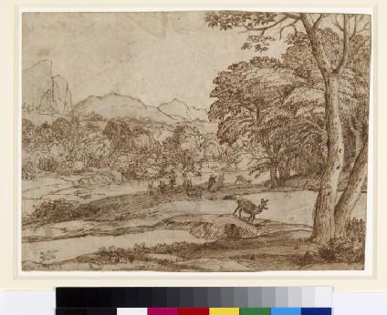 Landscape with a herd of deer