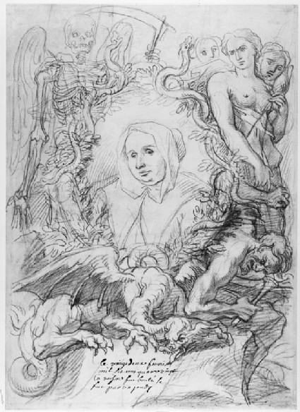 Portrait of Catherine Monvoisin with the three Fates on the right and Death on the left