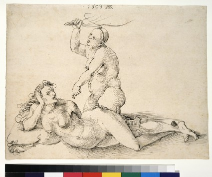 Two nude female figures
