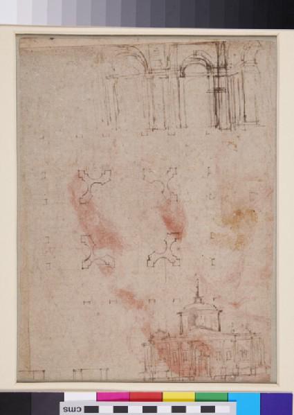 Recto: Christ<br />Verso: Three Architectural sketches
