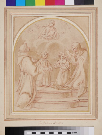 Two Children before a Vision of the Virgin and Child