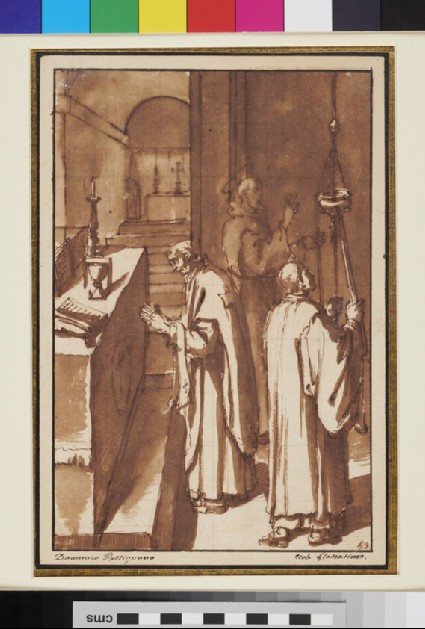 Priest saying Mass in front of an Altar, accompanied by an Acolyte, with a Franciscan Monk in the Background