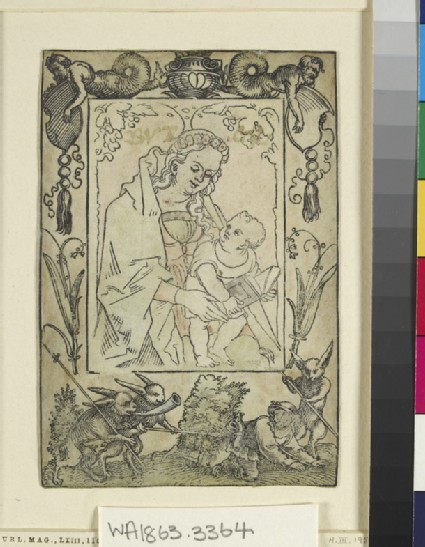 The Virgin and Child surrounded by a border with a hunter and some rabbits
