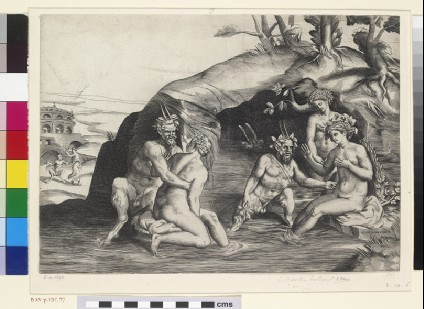 Three Nymphs and two Satyrs bathing