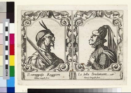 Ruggiero and Bradamante, seen in profile, portrayed in a grotesque manner