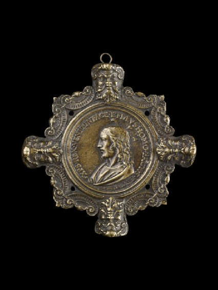 Decorated frame with medallion of Christ