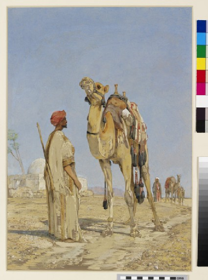 Arabs with Camels by a Tomb in the Desert