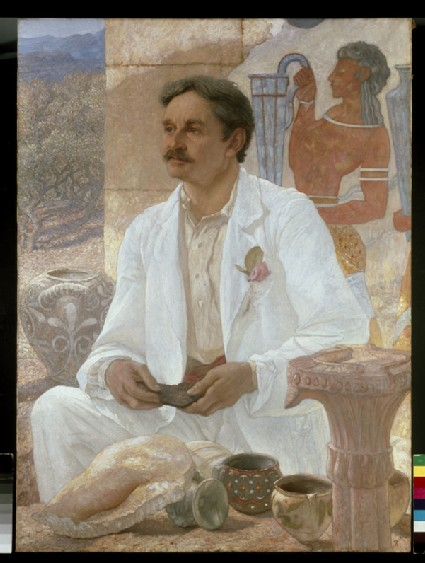 Sir Arthur Evans among the Ruins of the Palace of Knossos