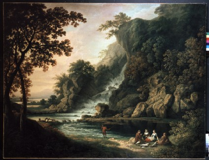 Landscape with a fishing Party by a Waterfall