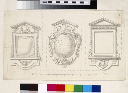 Design of the upright and plan of a pavilion