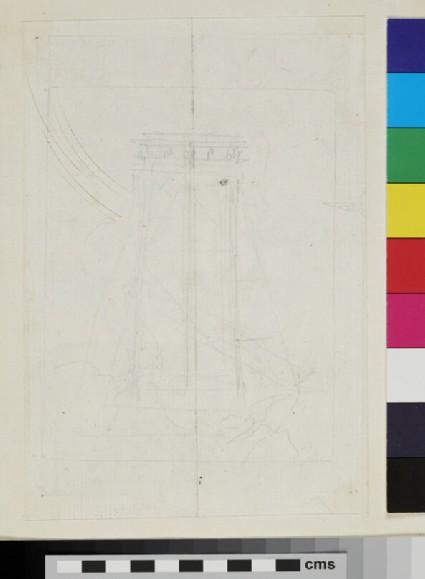 Recto: design of the arms of Pope Innocent X, Giovanni Battista Pamphilj <br />Verso: slight sketches