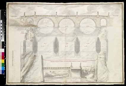 Rendering of three sections of the Ponte S. Angelo