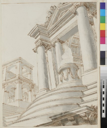 Sketch of the architectural elements of a monumental painting