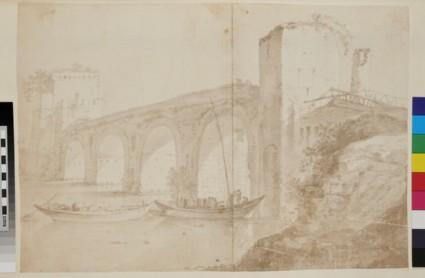 A bridge and two tower gates, perhaps Ponte Milvio in Rome