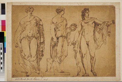 Three studies after antique statues, including the Apollo del Belvedere