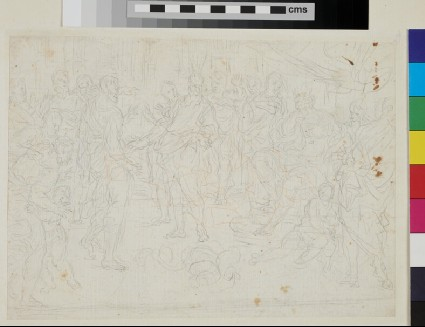 Recto: sketch of Cupid and Psyche <br />Verso: sketch of Moses turning the staff into snakes