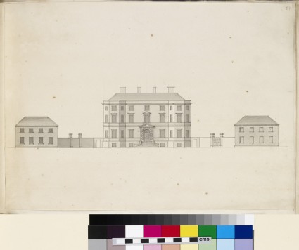 Design of the façade of a country house and its dependencies