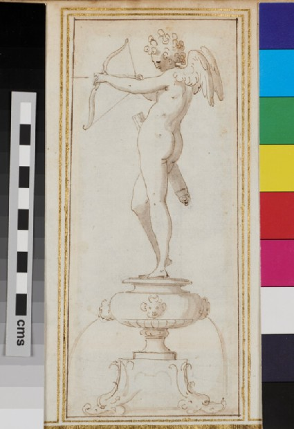 Design for an ornamental fountain with Cupid standing on it