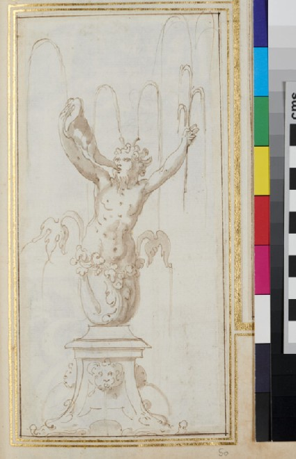Design for an ornamental fountain with a triton blowing a horn seen from the front