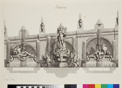 Design for a wall fountain showing Saturn and deities, from the series 'Recueil de fontaines et de frises maritimes'