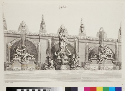 Design for a wall fountain showing Cybele and deities, from the series 'Recueil de fontaines et de frises maritimes'