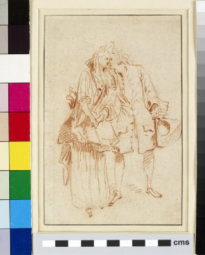 Recto: A man holding a tricorn hat, embracing a woman on the left<br />Verso: Two studies of a man, seen from behind, raising his right arm