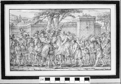 A group of captives led by Roman soldiers to a fortified town