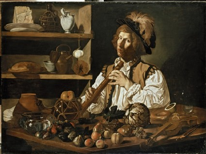 Interior with a Still Life and a Young Man Holding a Recorder
