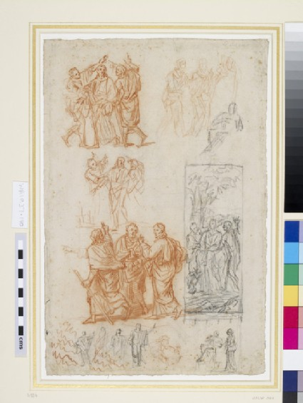 Recto: Studies for a composition of Christ on the road to Emmaus and for Christ and the woman of Samaria<br />Verso: Studies of kneeling and seated figures