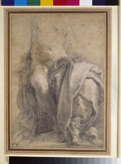 Recto: Seated semi-nude female wearing drapery<br />Verso: Study of a nude boy reclining in his mother's lap, and four studies of legs