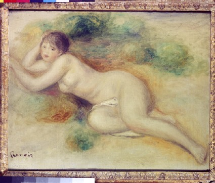 Study of a nude girl reclining to the left