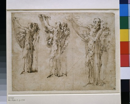 Recto: Three studies of St Jerome and St Francis in conversation