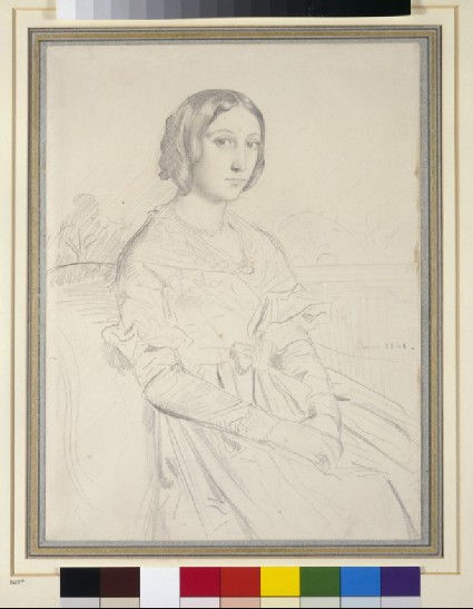 Portrait of a young woman, seated three-quarters to left