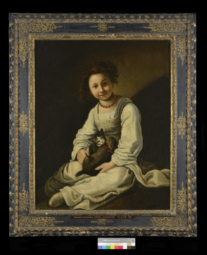 Girl with a Dog (or Cat) and a Kitten