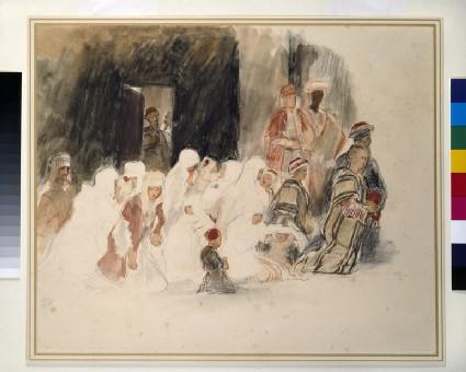 Figures kneeling in a Mosque