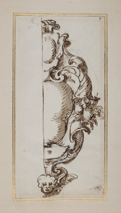 Recto: Half design for a cartouche decorated with cornucopias and a cherub's head
