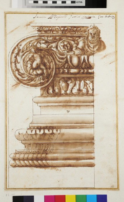 Front view of a half Ionic capital and its base