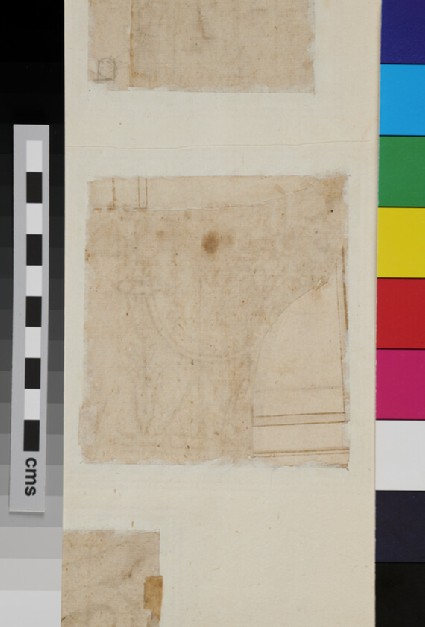 Recto: Half of a Corinthian capital, on a piece of paper pasted on<br />Verso: A fragment of an architecture