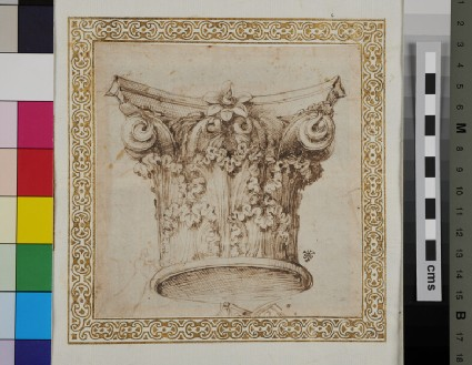 Recto: A Corinthian capital <br />Verso: Two hands