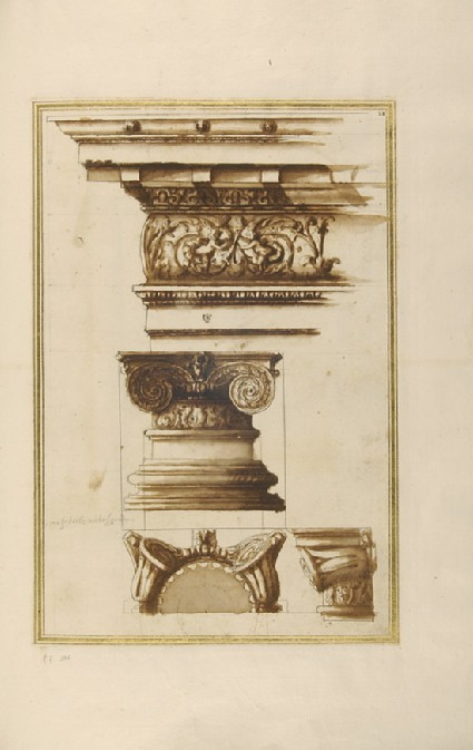 Three views of an Ionic capital and its entablature