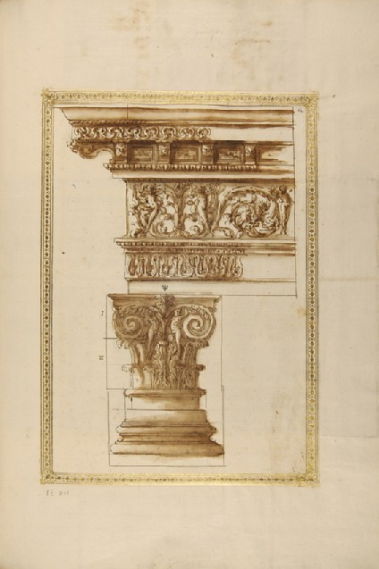 A composite capital with an entablature