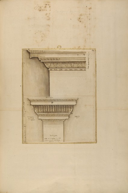 An entablature and a lesene, two sheets joined together