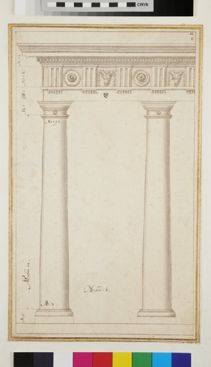 Two Doric columns supporting an entablature