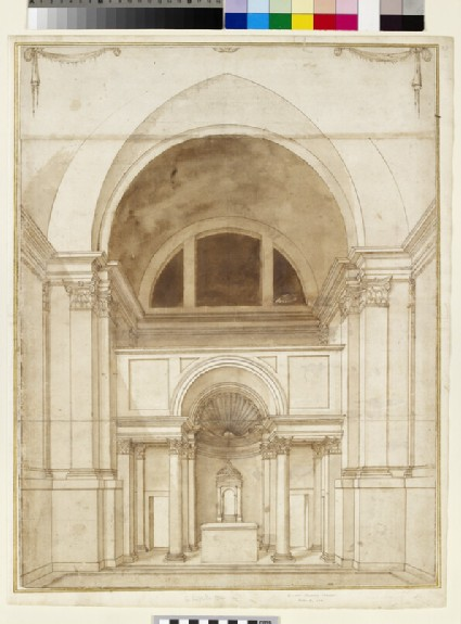 Perspective project for the presbitery of the Cappella Paolina, Rome