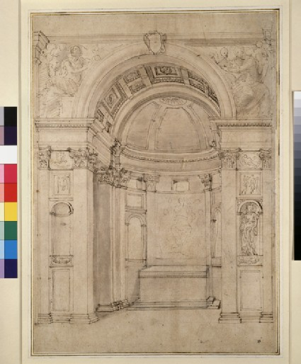 Perspective project for the Cappella Ponzetti in Santa Maria della Pace, Rome