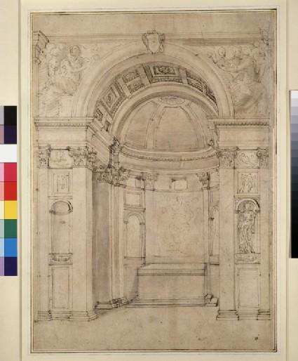 Perspective project for the Cappella Ponzetti in Santa Maria della Pace, Rome