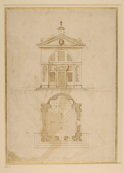 Plan and elevation of the oratory of San Carlo Borromeo, Porlezza