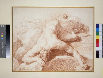 A male nude, sprawling, face down, on a pile of rocks