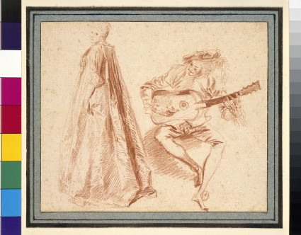 A girl standing in profile to left, looking over her left shoulder, with a man, on the right, playing a guitar